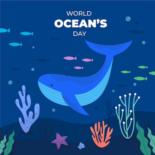 Всемирный день океанов с китами и рыбой Бесплатные векторы