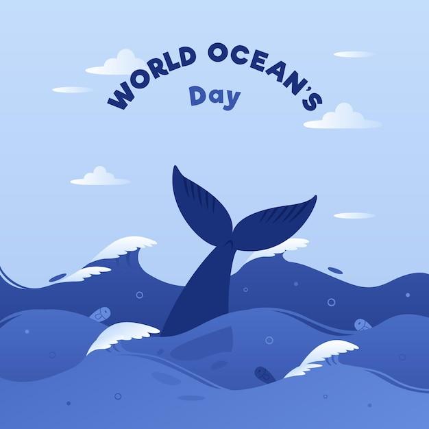 Всемирный день океанов со сказками и волнами китов Premium векторы