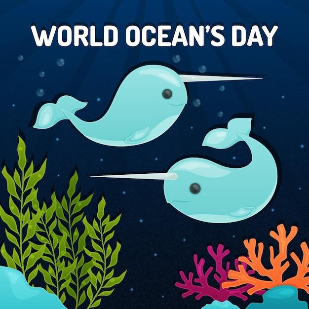 Всемирный день океанов с китами Бесплатные векторы