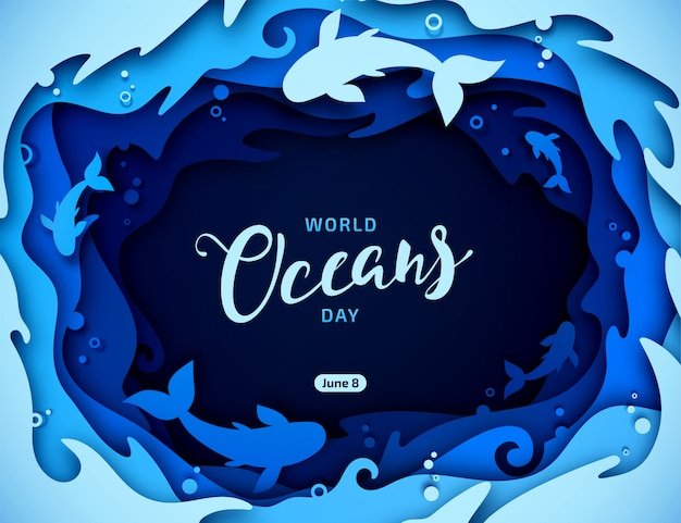 World oceans day Premium Vector