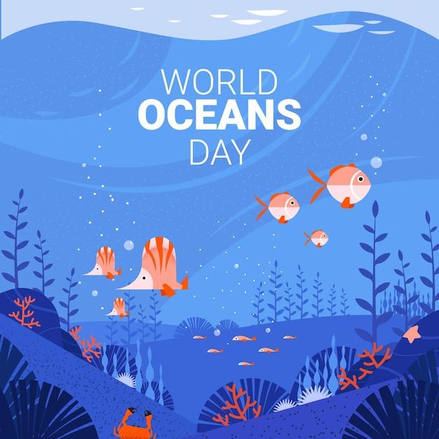 Giornata mondiale degli oceani Vettore gratuito