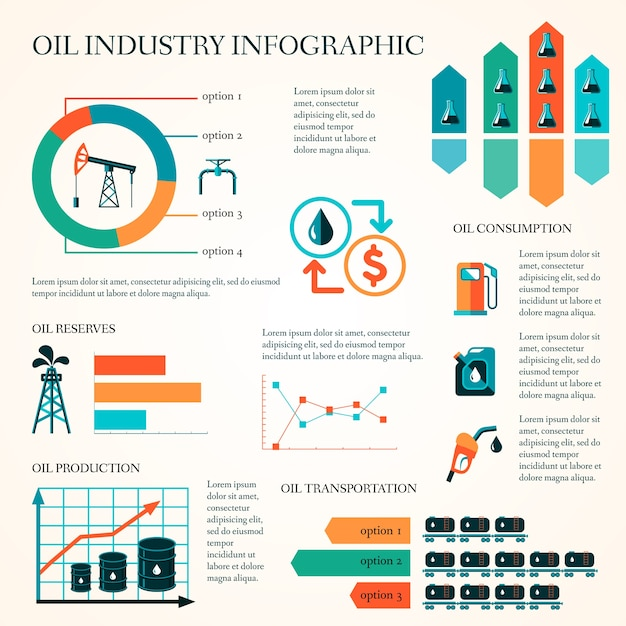 World oil production distribution and petroleum extraction rate infographics diagram layout report presentation design vector illustration Free Vector
