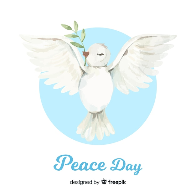 World peace day background with dove in hand drawn style Free Vector