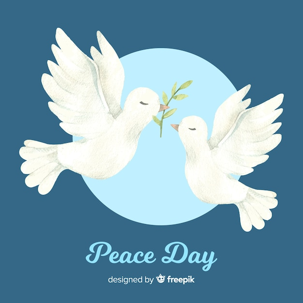 World peace day background with doves in hand drawn style Free Vector
