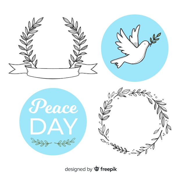 World peace day badge collection Free Vector