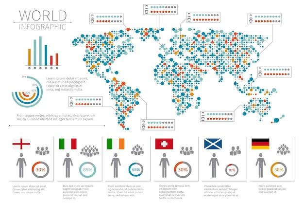 Инфографика людей мира. человеческая инфографика на иллюстрации карты мира. мировая статистика и инфографика Бесплатные векторы