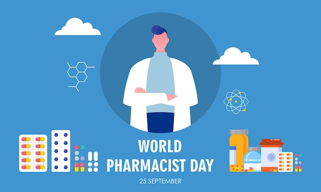 World pharmacist day. doctor and pills logo concept
