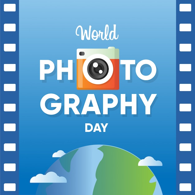 World photography day banner with film roll paper and world globe background Premium Vector
