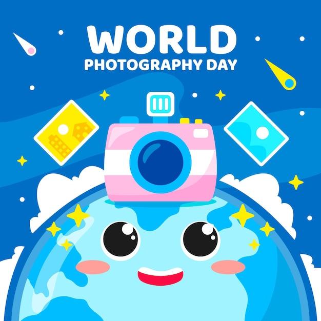 世界写真デーイベント 無料ベクター