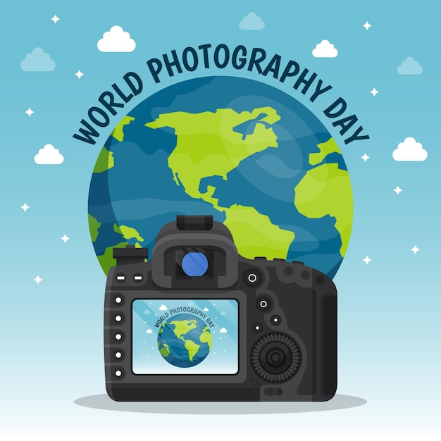 World photography day event Free Vector