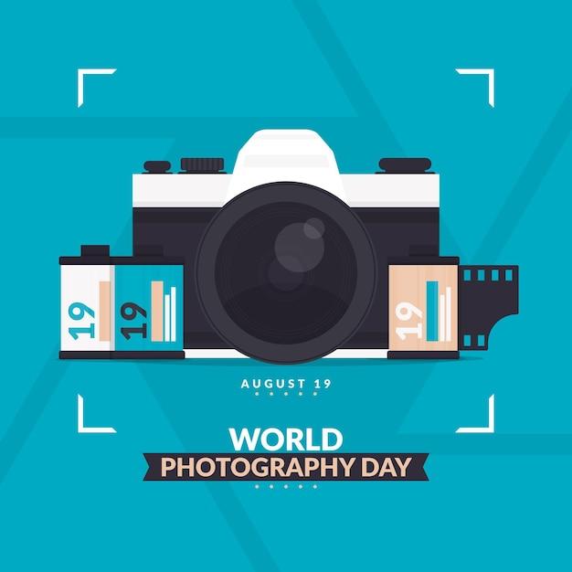 世界写真デーイラスト 無料ベクター
