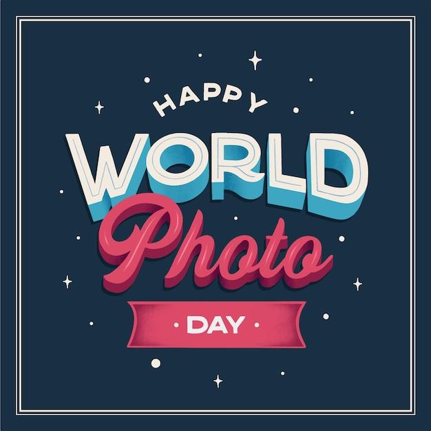 世界写真デーレタリング 無料ベクター