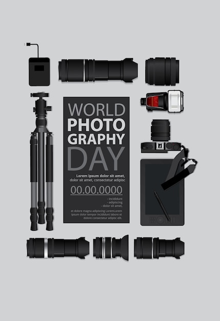 World photography day template Free Vector