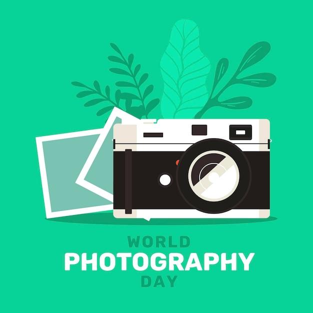カメラと写真付きの世界写真デー Premiumベクター