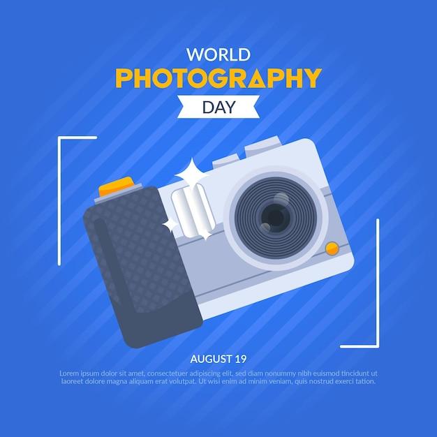 カメラで世界の写真の日 無料ベクター