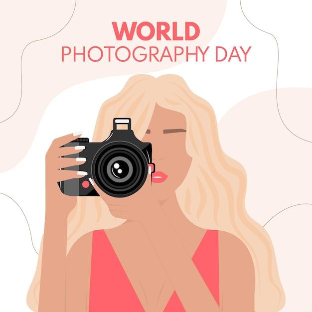 女性写真家との世界写真デー 無料ベクター