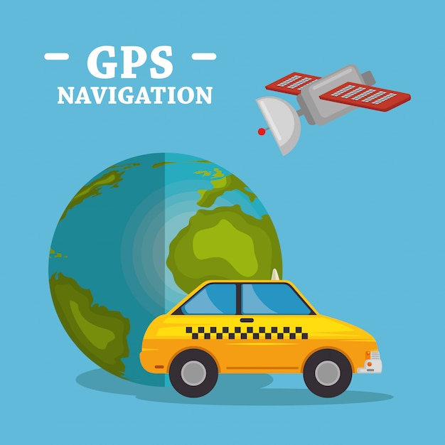 World planet with gps navigation icons Free Vector