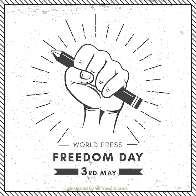 World press freedom day background in retro style Free Vector