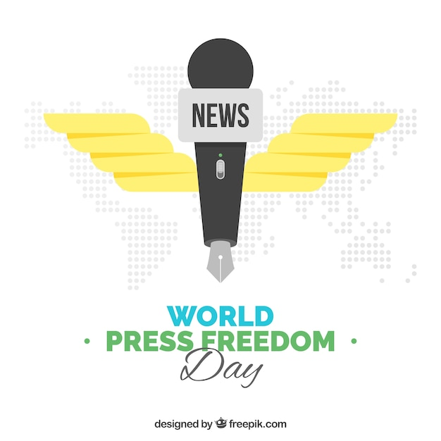 World press freedom day background with microphone-shaped pen