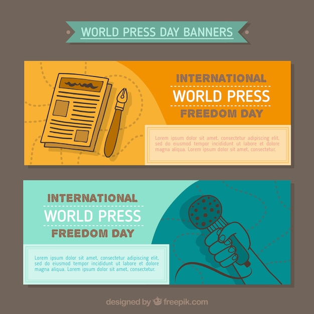 World press freedom day banners in hand-drawn style