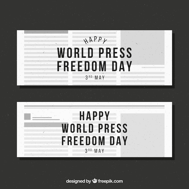 World press freedom day newspaper banners