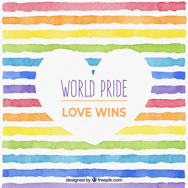 World pride background with watercolor lines Free Vector