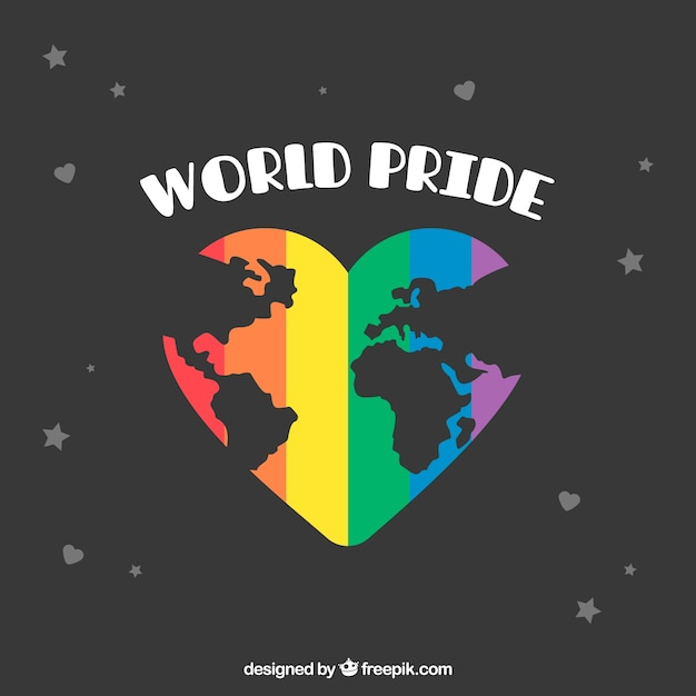 World pride background with world map in heart Free Vector