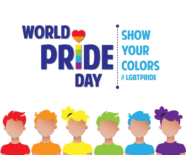 World pride day rainbow people lgbt pride Premium Vector