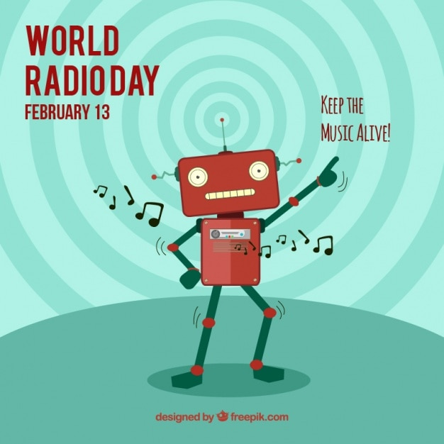 World radio day background with robot dancing Free Vector