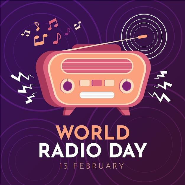 Всемирный день радио рисованной фон со старинным радио Бесплатные векторы