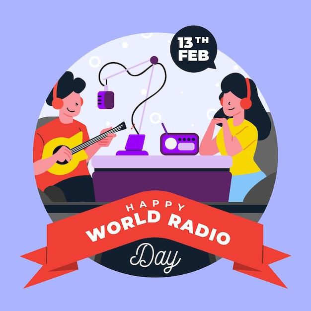 Всемирный день радио человек, играющий на гитаре Бесплатные векторы