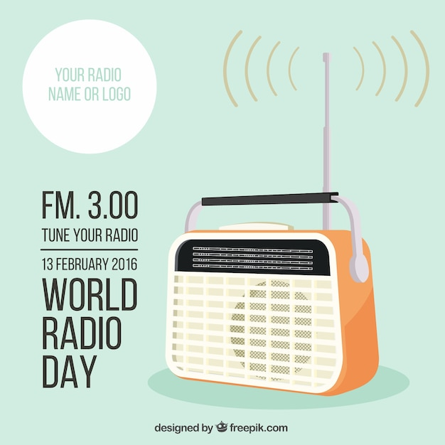World radio day template Free Vector