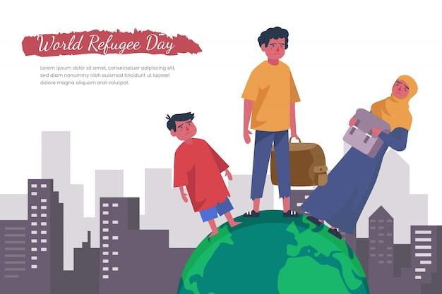 Design piatto per la celebrazione della giornata mondiale del rifugiato Vettore gratuito