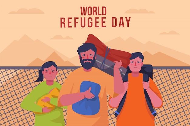 Celebrazione della giornata mondiale del rifugiato stile piatto Vettore gratuito