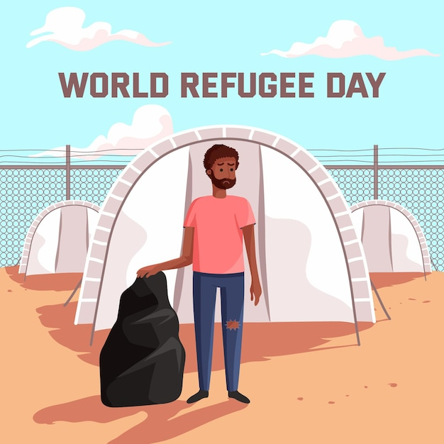 Celebrazione della giornata mondiale del rifugiato Vettore gratuito