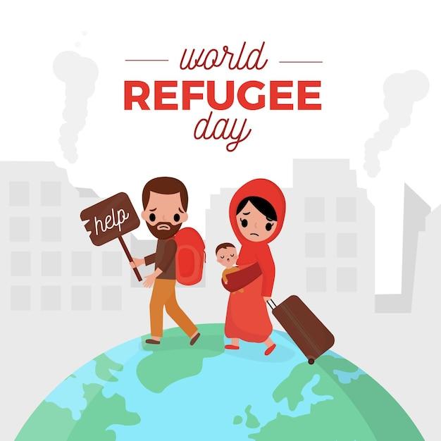 世界難民の日のコンセプト 無料ベクター