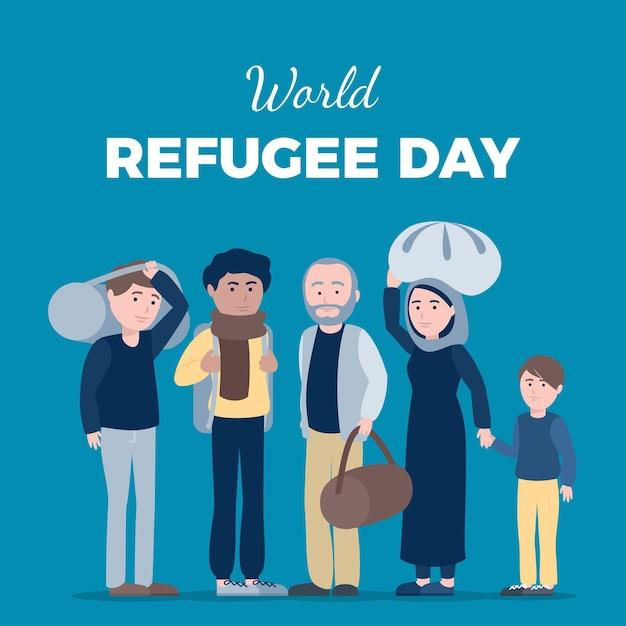 Concetto di giornata mondiale del rifugiato Vettore gratuito