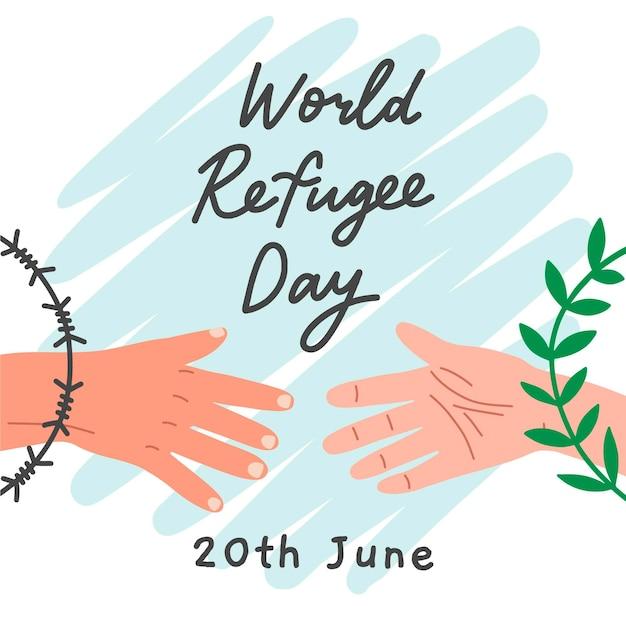世界難民の日を描くコンセプト 無料ベクター