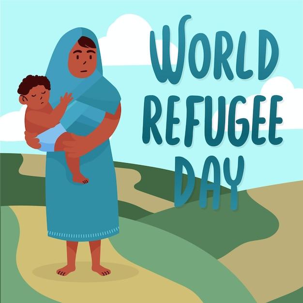 世界難民の日はデザインを描く 無料ベクター
