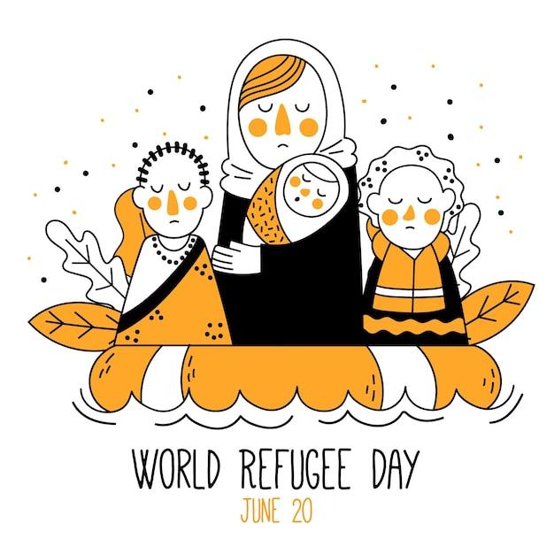 世界難民の日描画コンセプト 無料ベクター