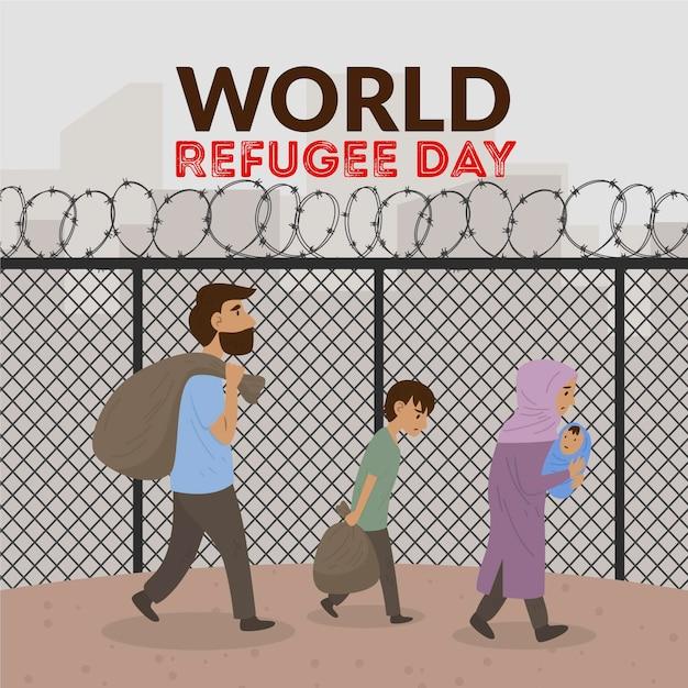 世界難民の日描画図 無料ベクター