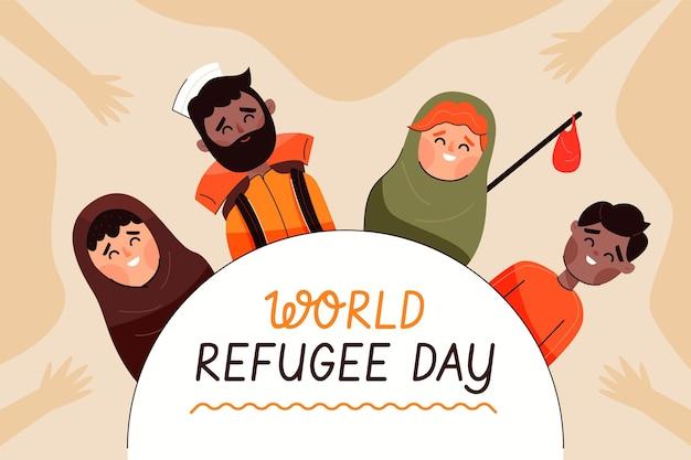 世界難民の日フラットデザイン 無料ベクター