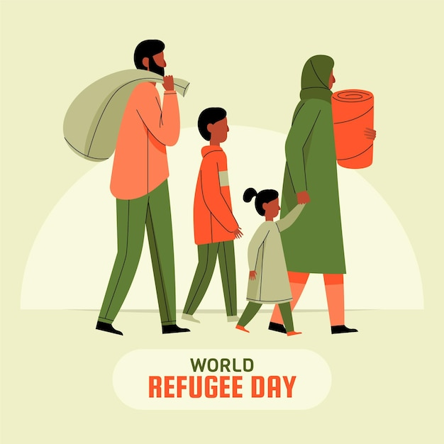 World refugee day in flat design Free Vector