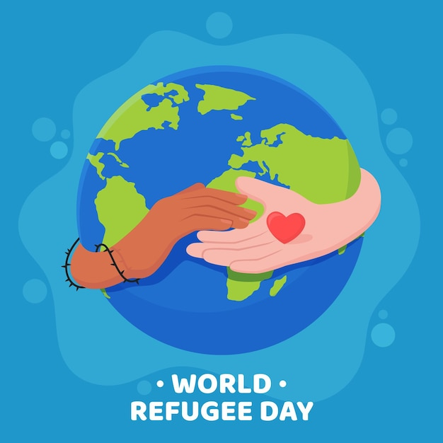 World refugee day flat style Free Vector