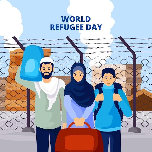 世界難民の日イラスト風 無料ベクター