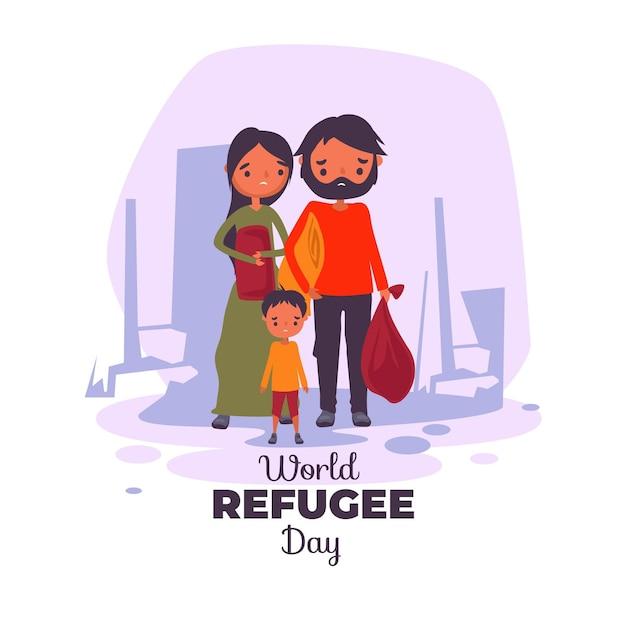 世界難民の日を図解 無料ベクター