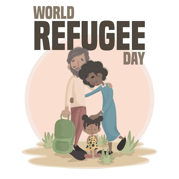 世界難民の日のイラスト 無料ベクター