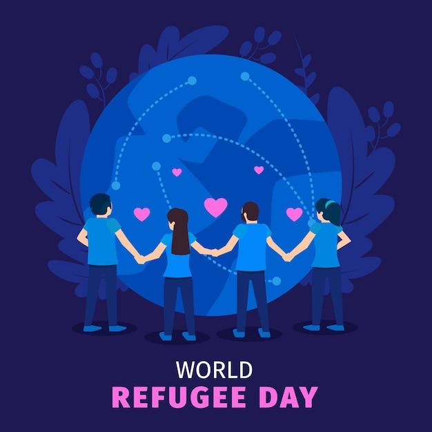 Illustrazione di giornata mondiale del rifugiato Vettore gratuito