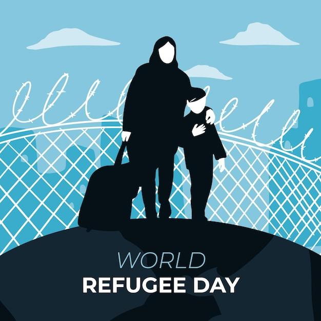 Giornata mondiale del rifugiato madre e figlio Vettore gratuito