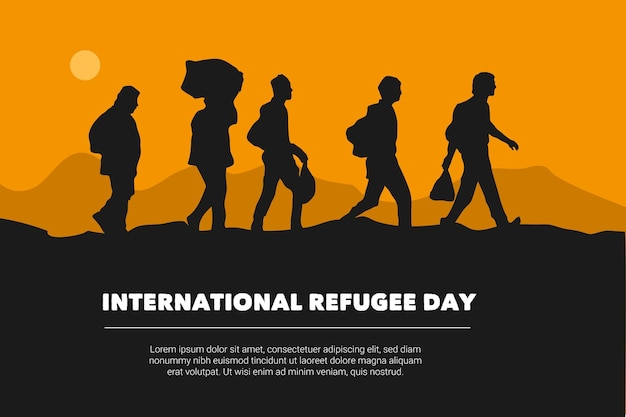 World refugee day silhouettes design Free Vector